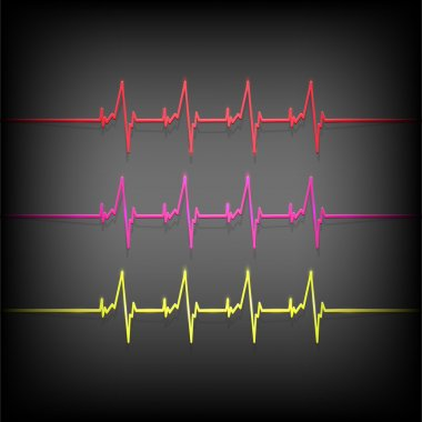 Colorful heartbeat medical elements - vector illustration stock vector