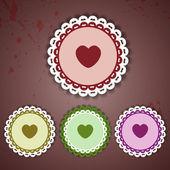 kruh a srdce krajky - vektorové ilustrace
