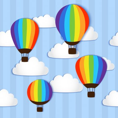 Hot Air Balloons in the sky - vector illustration stock vector