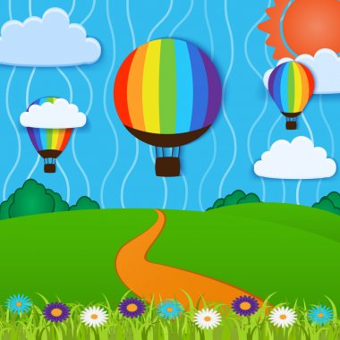 Green Landscape with Hot Air Balloons and clouds stock vector