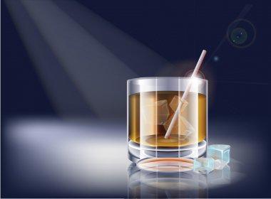 Vector whisky glass. Vector illustration. stock vector