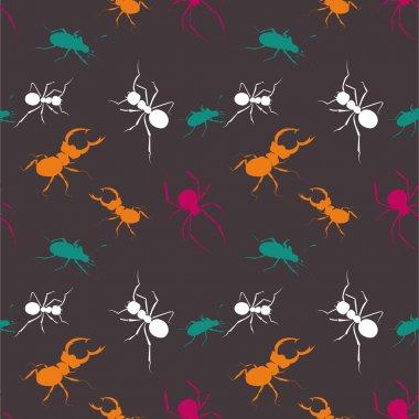 Seamless bugs pattern - vector illustration stock vector