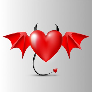 Evil-heart. Vector illustration. stock vector