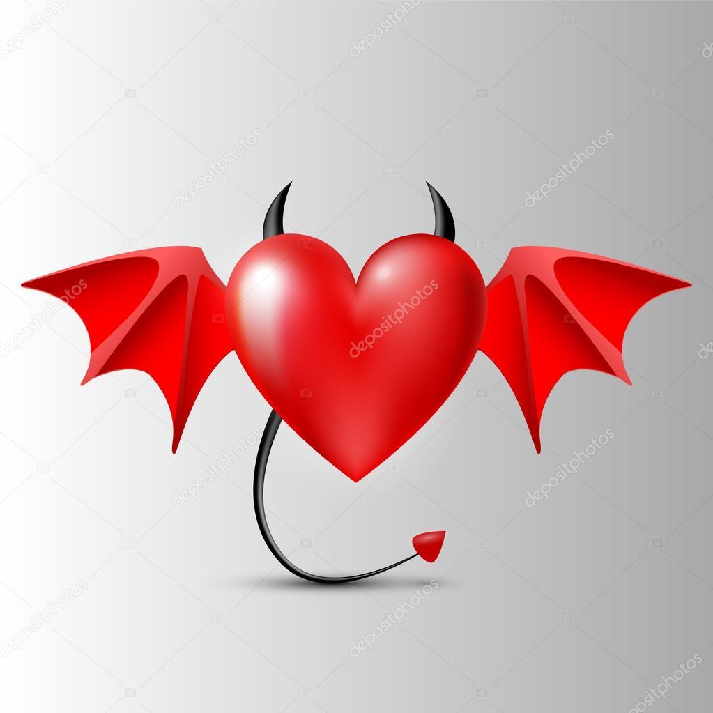 Evil-heart. Vector illustration. stock vector