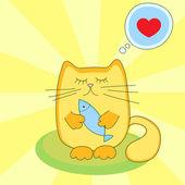 Macska szeret enni a hal - vektor-illusztráció