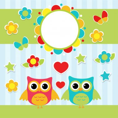 Illustration with couple of cute owls stock vector