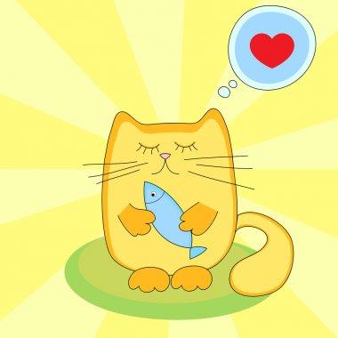 Cat loves to eat fish - vector illustration stock vector