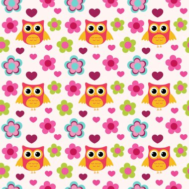 Seamless colorful owl pattern for kids in vector stock vector