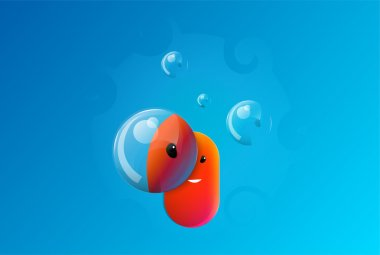 Cute face with bubbles. Vector illustration. stock vector