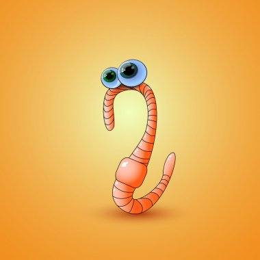 Cartoon earthworm. Vector illustration. stock vector