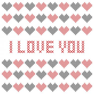 Embroidered Valentine card. Vector illustration. stock vector