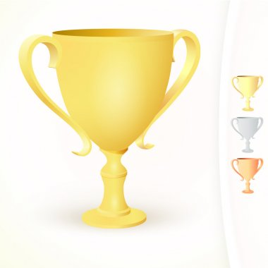Winner's cups on white background stock vector