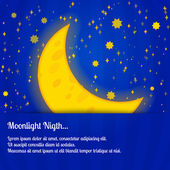 Moonlight night - vector illustration