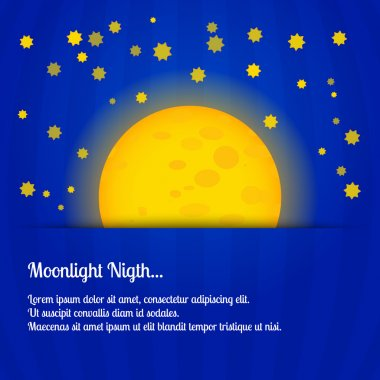 Moonlight night - vector illustration stock vector