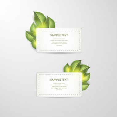 Vector stickers with green leafs stock vector