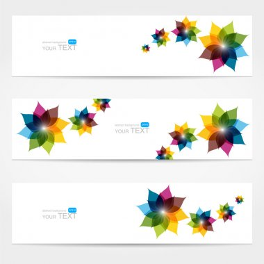 Collection of floral banners stock vector