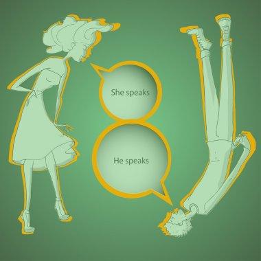 Boy and girl talking - vector illustration stock vector