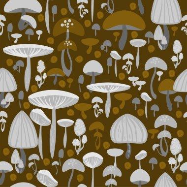 Mushrooms seamless pattern - vector illustration stock vector