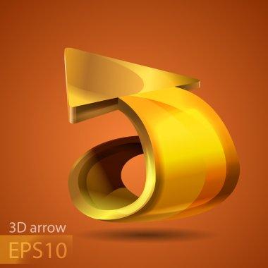 Vector golden arrow. Vector illustration. stock vector