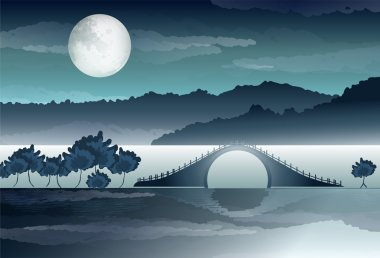 River bridge with reflection stock vector
