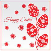 Easter eggs card in red color. Vector illustration