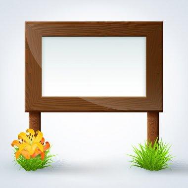 Wooden sign board. Vector illustration. stock vector