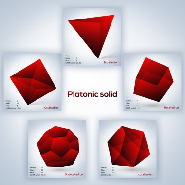 Red set of geometric shapes, platonic solids stock vector