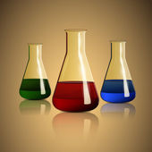 Chemiekolben auf orangefarbenem Hintergrund