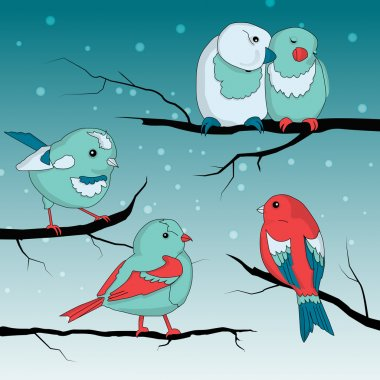 Cute little birds on wintry landscape stock vector