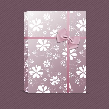Vector picture of violet gift with small flowers stock vector