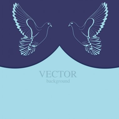 Two doves on blue background stock vector