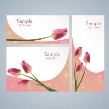 Brochure template cards with red tulips stock vector
