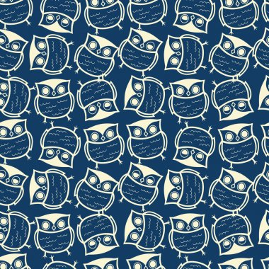 Cute seamless owl background pattern for kids in vector