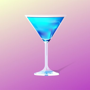 Glass with a blue cocktail stock vector