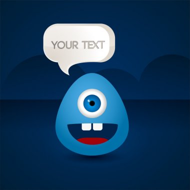 Blue creature with a sign your text stock vector