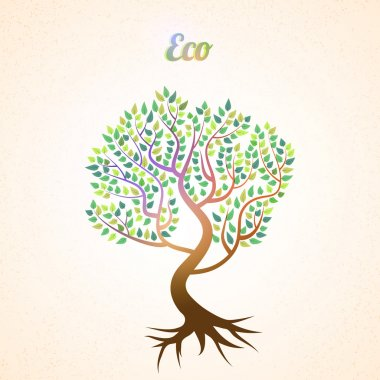 Vector abstract tree with green leaves stock vector