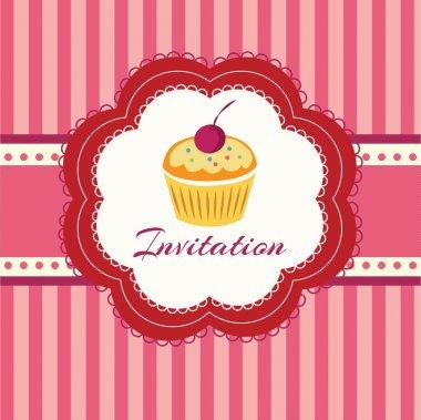 Cupcake background. Invitation. Vector illustration. stock vector