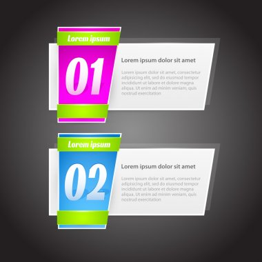 Vector One Two steps banners with glossy colorful tags stock vector