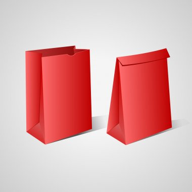 Two red paper bags.Vector Illustration stock vector