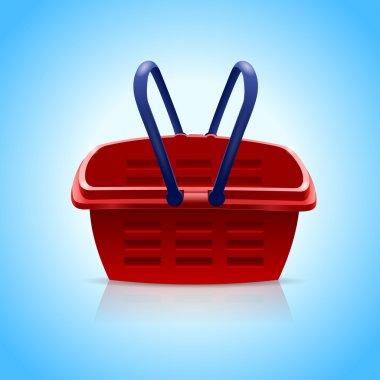 Red shopping basket on blue background.Vector Illustration stock vector