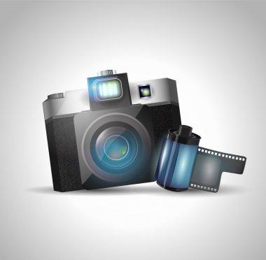 Camera and film, vector illustration stock vector