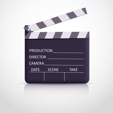 Clapper board on white background stock vector