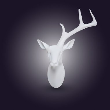 Vector white head of deer with one horn stock vector