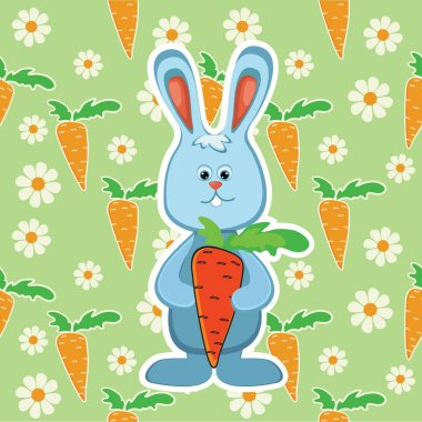 Rabbit with carrot. Vector illustration stock vector