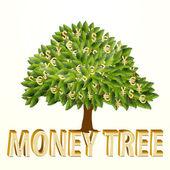 Geldbaum isoliert auf weißem Hintergrund. Vektorillustration