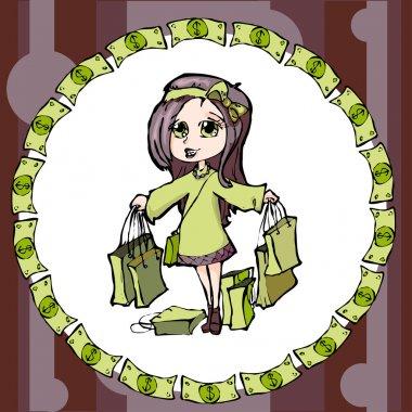 Shopping pretty girl - vector illustration stock vector