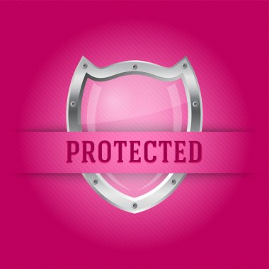 Protect silver shield on the pink background