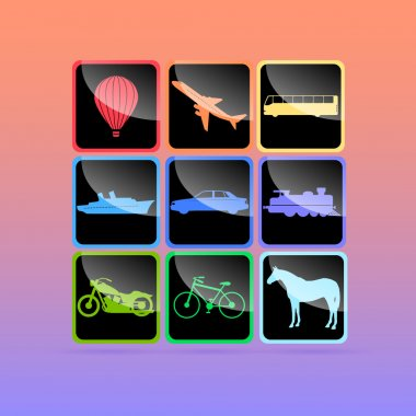 Means of transportation icon set. Vector illustration. stock vector