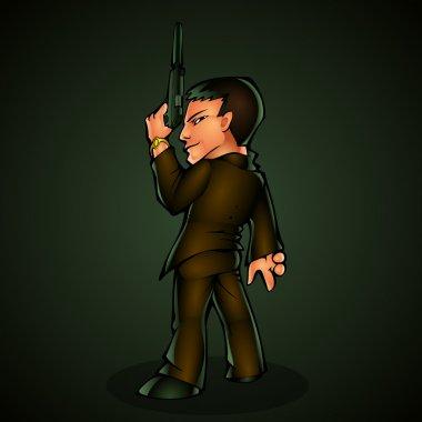 Killer with pistol. Vector illustration. stock vector