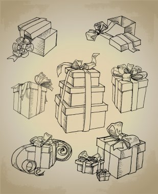 Set of vector gift boxes stock vector